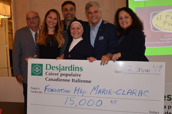The donation was presented in the presence of Raffaele Di Lillo, Chairman of the Board of Directors of Caisse populaire Desjardins Canadienne Italienne; Marie-Josée Chouinard, Director of Marie-Clarac Hospital Foundation; Joe Cacchione, master of ceremonies for the evening; Sister Martine Côté, Executive Director of Marie-Clarac Hospital; Mariano A. De Carolis, Executive Director of Caisse Canadienne Italienne, and Monique Nault, Director of Administrative Services.